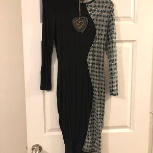 Fitted half&half bodycon dress